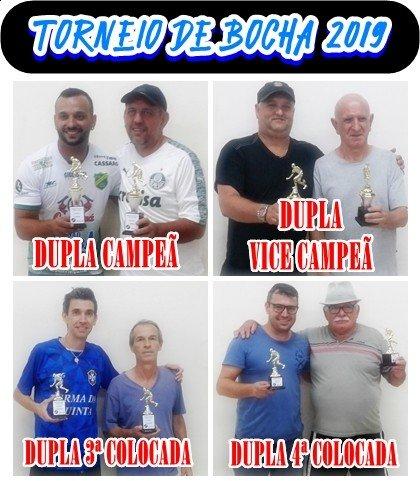 9eb21920fd41 Torneio de Bocha Duplas 2019 ... Dia 01 de Maio ... Quarta-feira Canchas 1  e 2